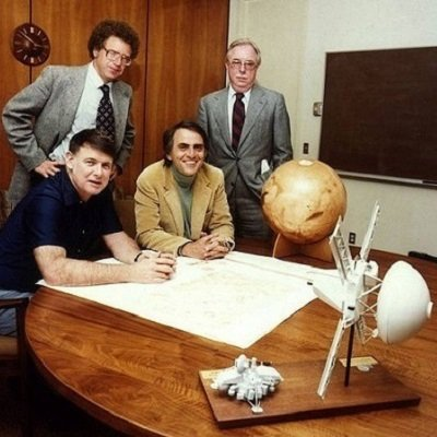 Photograph of Louis Friedman, Harry Ashmore, Bruce Murray, and Carl Sagan.