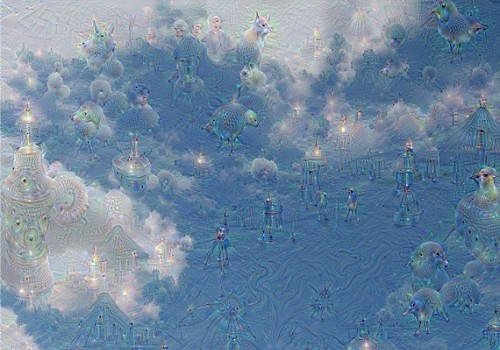 Image of clouds before and after analysis from Google's Deep Dream.