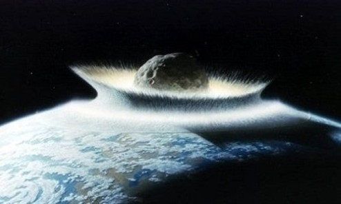 Painting of an asteroid entering the Earth's atmosphere.