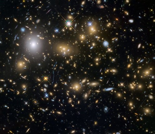 Photograph containing numerous galaxies.