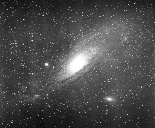 Photograph of the Andromeda galaxy.