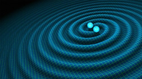 Image showing waves that form a spiral around two neutron stars.