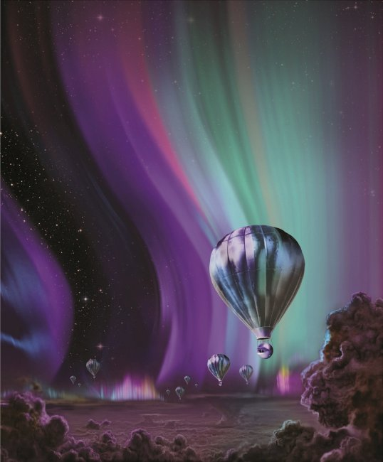 Painting showing people in balloons exploring the clouds of Jupiter.