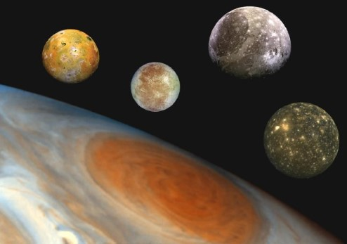 Composite image showing photographs of Jupiter's moons to scale.