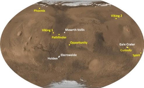 Map of Mars, with landing sites marked.