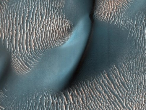 Photograph of sand dunes on Mars.
