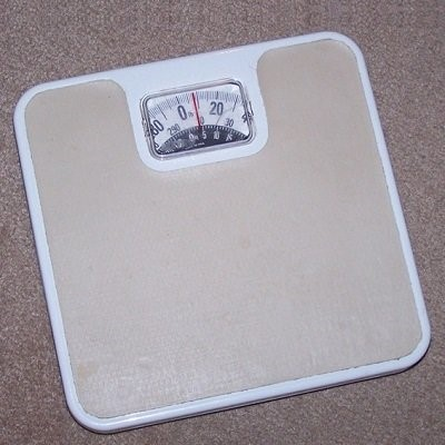 Photograph of bathroom scales.