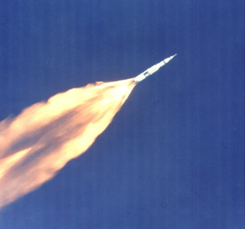 Photograph of the Apollo 11 rocket launch.