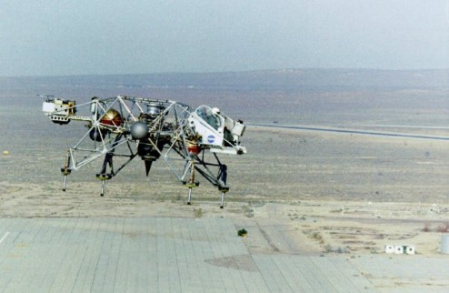 Photograph of the Lunar Landing Research Vehicle on Earth.