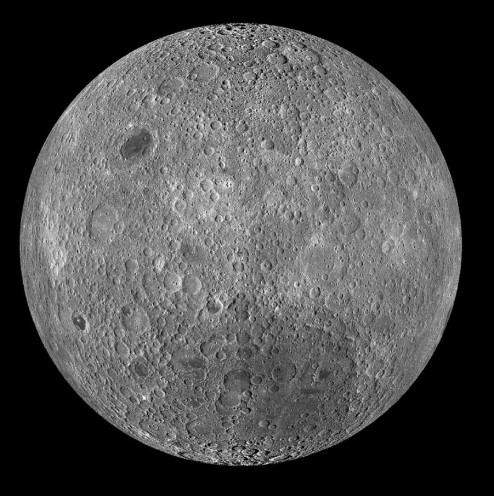 Photograph of the far side of the Moon.