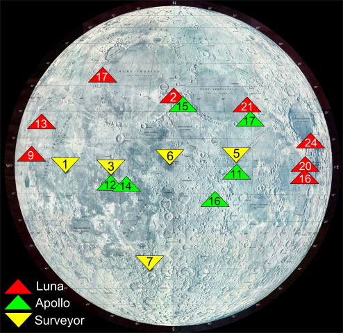 Map of the Moon, with Luna, Apollo, and Surveyor landing sites marked.