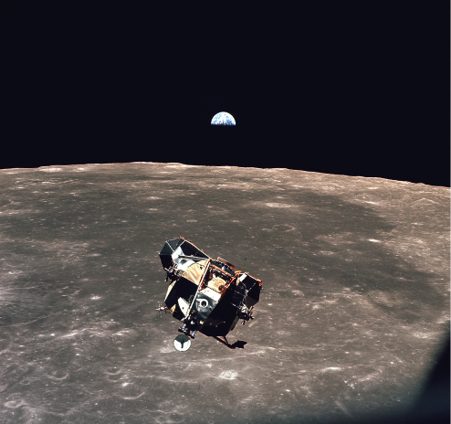 A photograph of the Apollo 11 lunar module on the Moon.