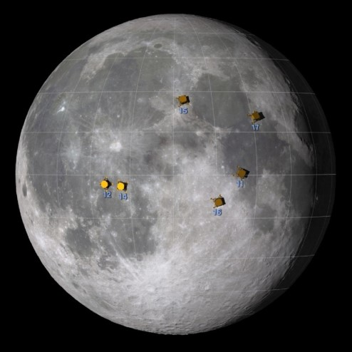 Photograph of the near side of the Moon with the Apollo sites marked.