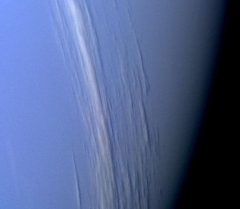 Photograph showing clouds on Neptune.