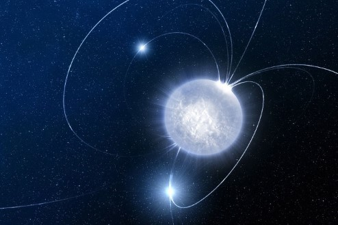 Artist's impression of a neutron star, the magnetosphere extends well beyond the radius of the neutron star.