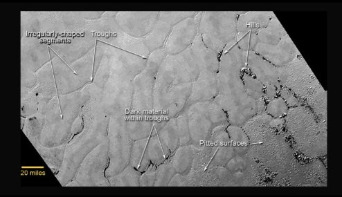 Close-up of Pluto's icy plains