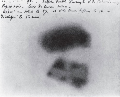 Photograph showing dark marks on Becquerel's photographic plate.