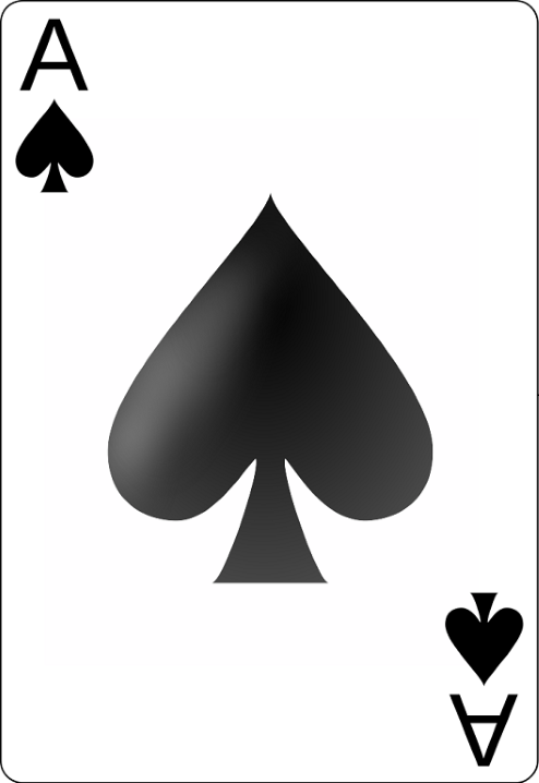 An ace of spades playing card.