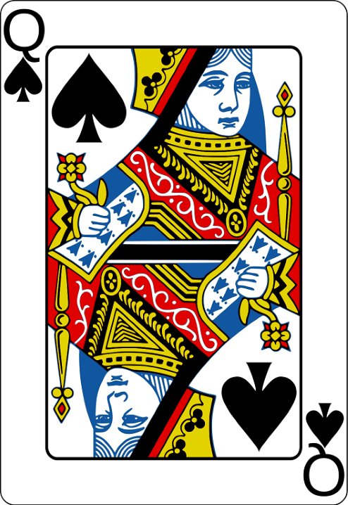 A queen of spades playing card.