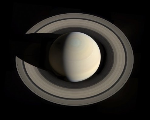 Photograph of Saturn.
