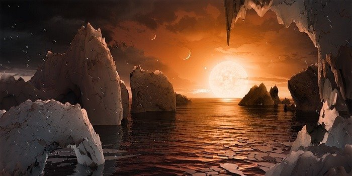 Painting showing ice on a planet orbiting a red dwarf star.