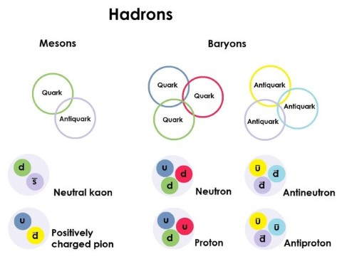 Diagram showing hadrons are split into mesons – made of a quark and an antiquark – and baryons, made of three quarks or three antiquarks. Kaons and pions are mesons, and neutrons and protons are baryons.