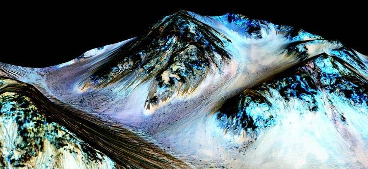 Mountain on Mars that contains flowing water.